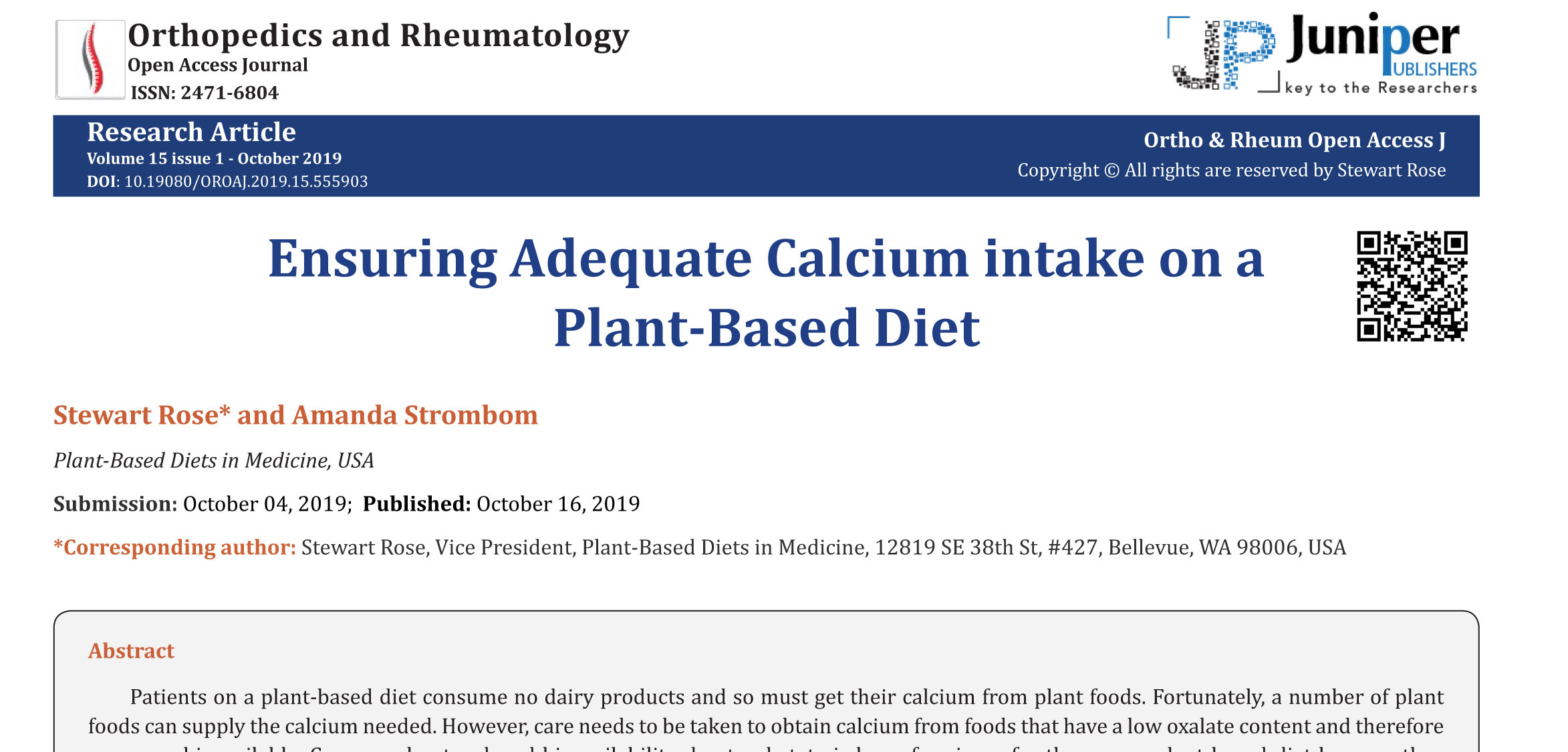 Ensuring Adequate Calcium intake on a Plant-Based Diet