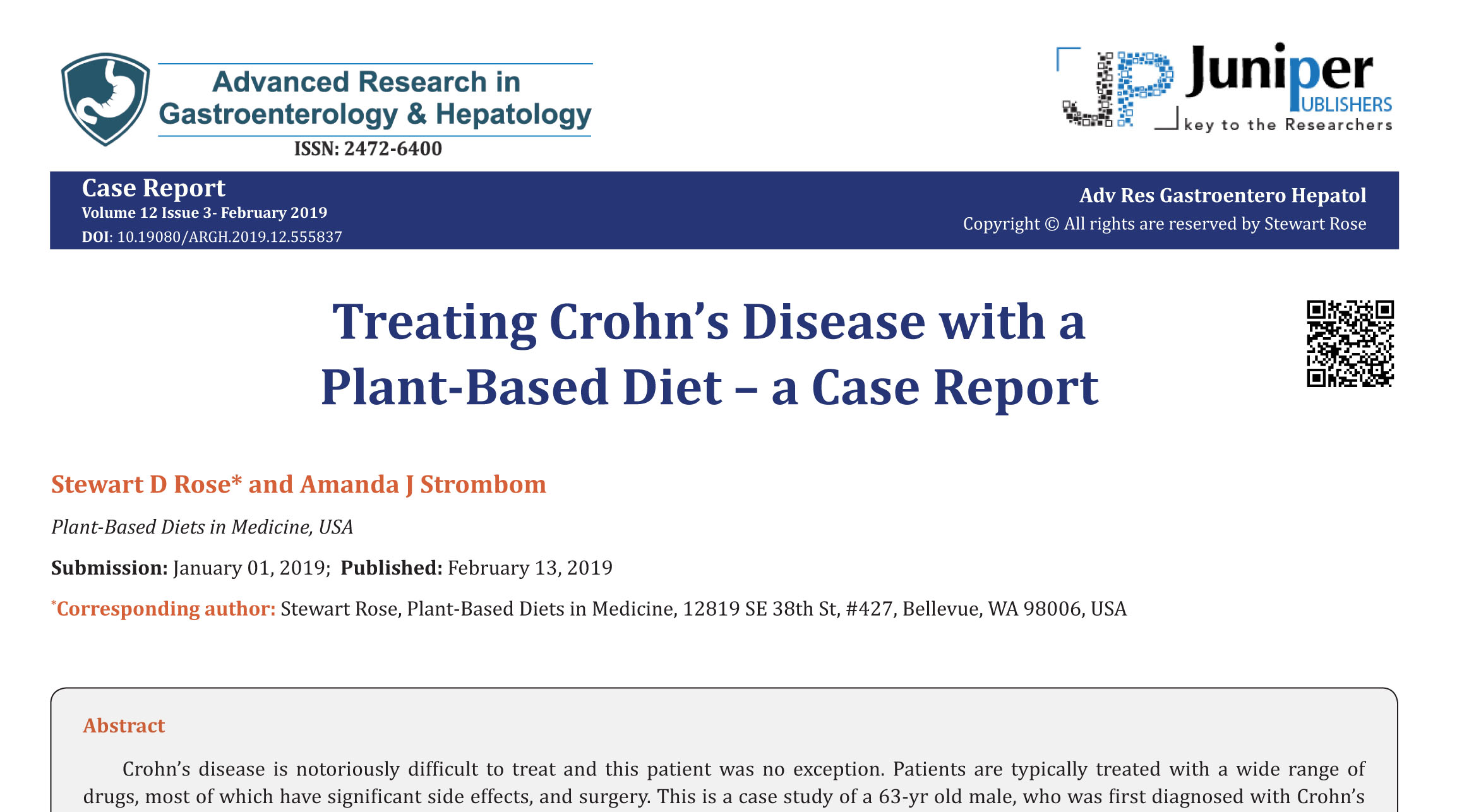 Treating Crohn's Disease with a Plant-Based Diet – a Case Report