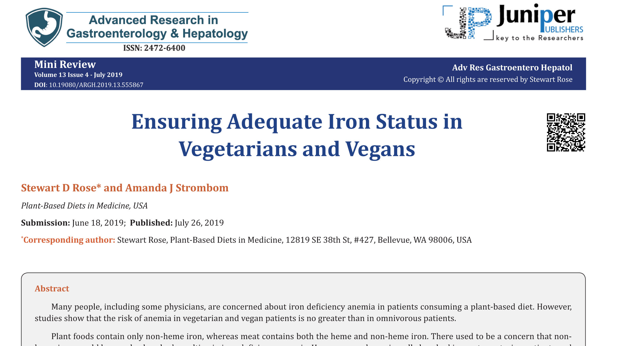Ensuring Adequate Iron Status in Vegetarians and Vegans