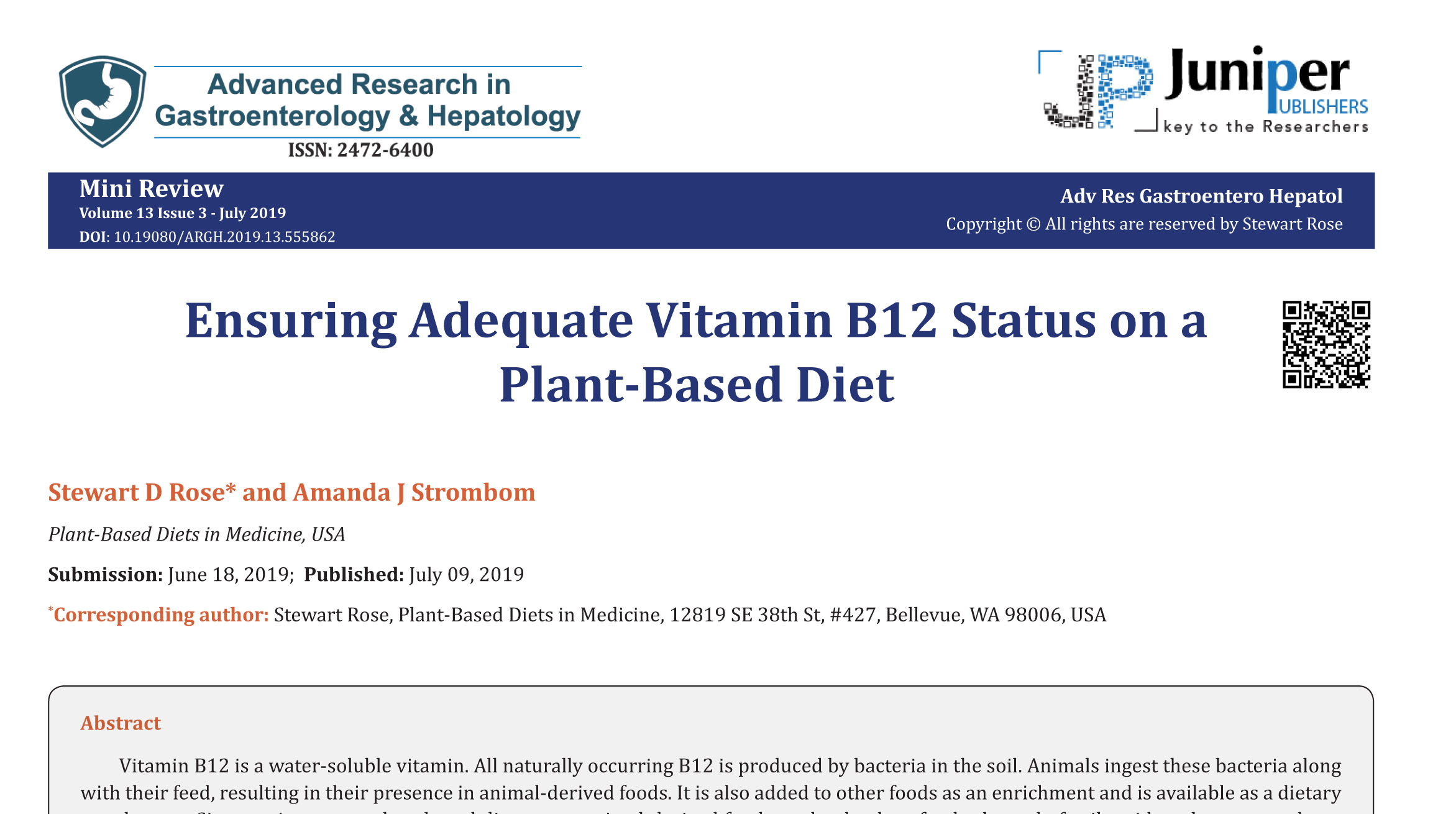 Ensuring Adequate Vitamin B12 Status on a Plant-Based Diet