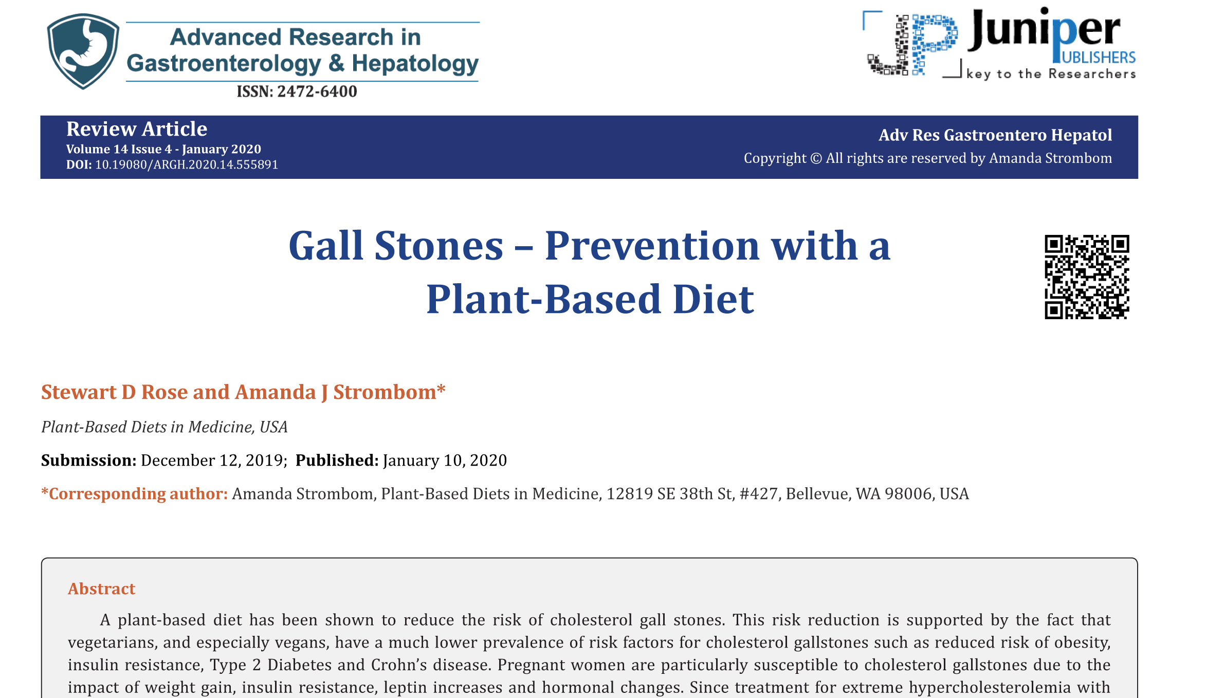 Gall Stones – Prevention with a Plant-Based Diet