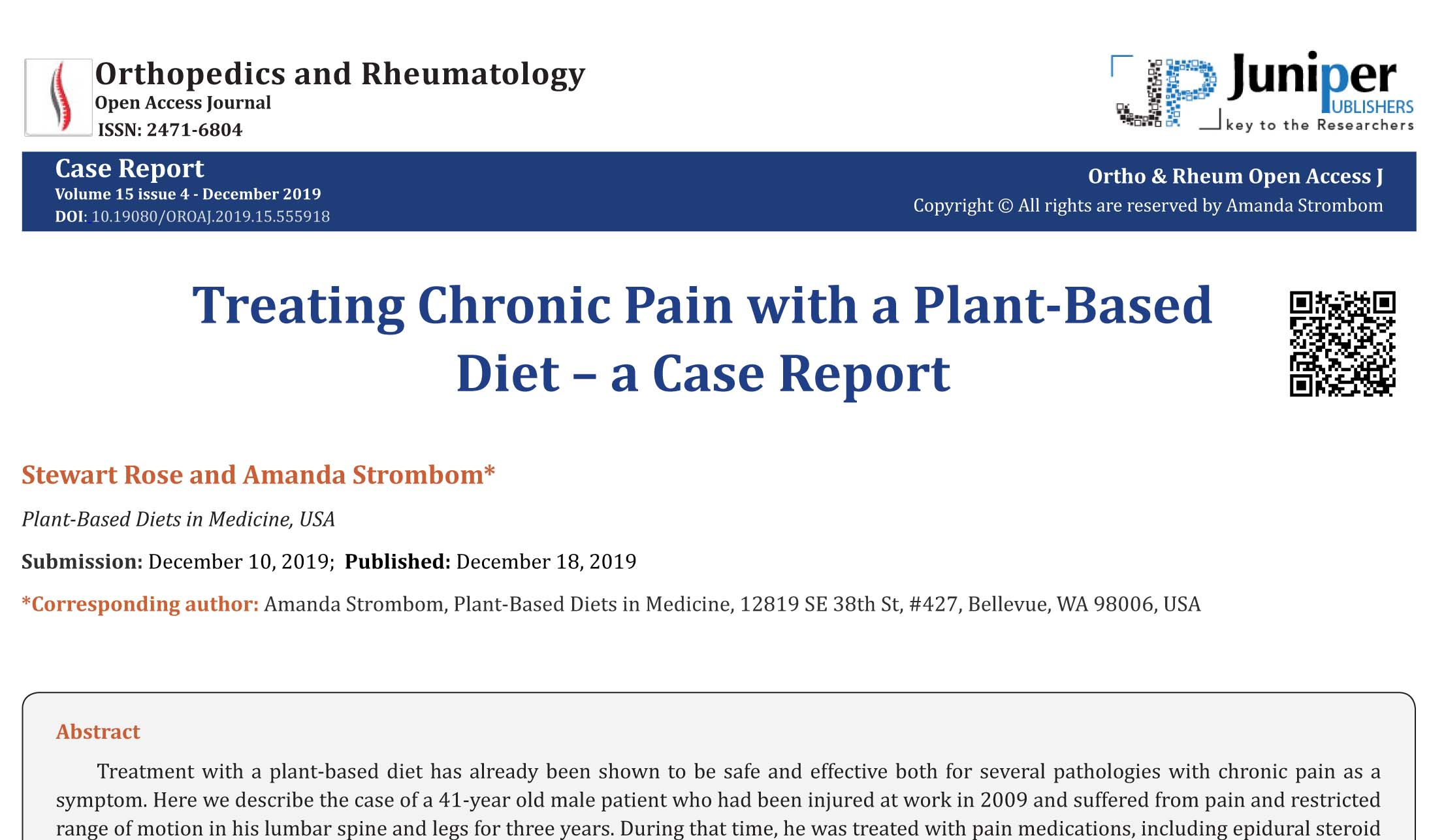 Treating Chronic Pain with a Plant-Based Diet – a Case Report