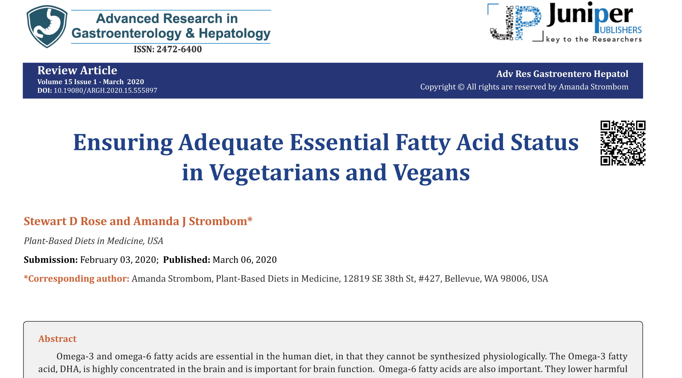 Ensuring Adequate Essential Fatty Acid Status in Vegetarians and