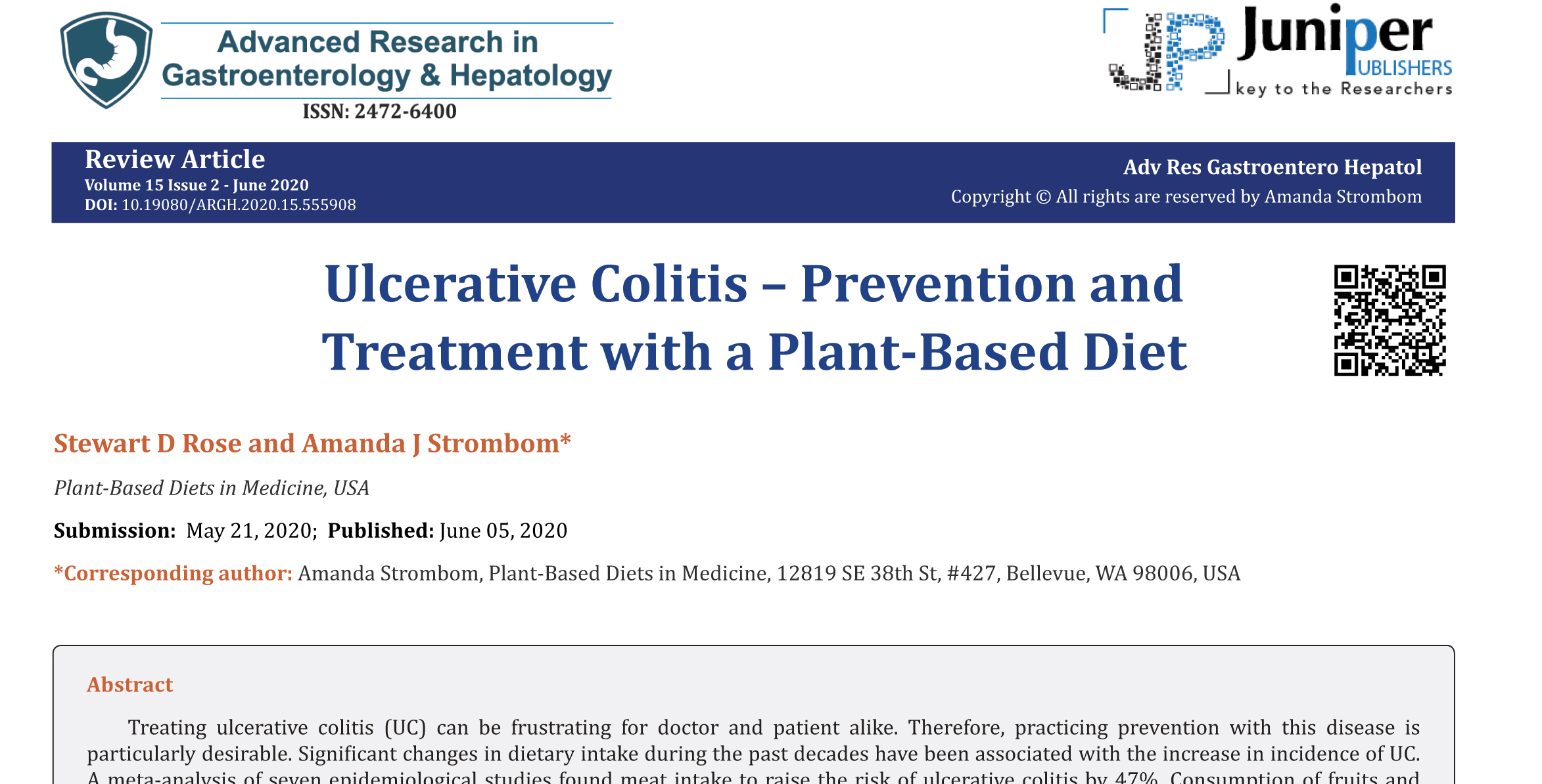 Ulcerative Colitis – Prevention and Treatment with a Plant-Based