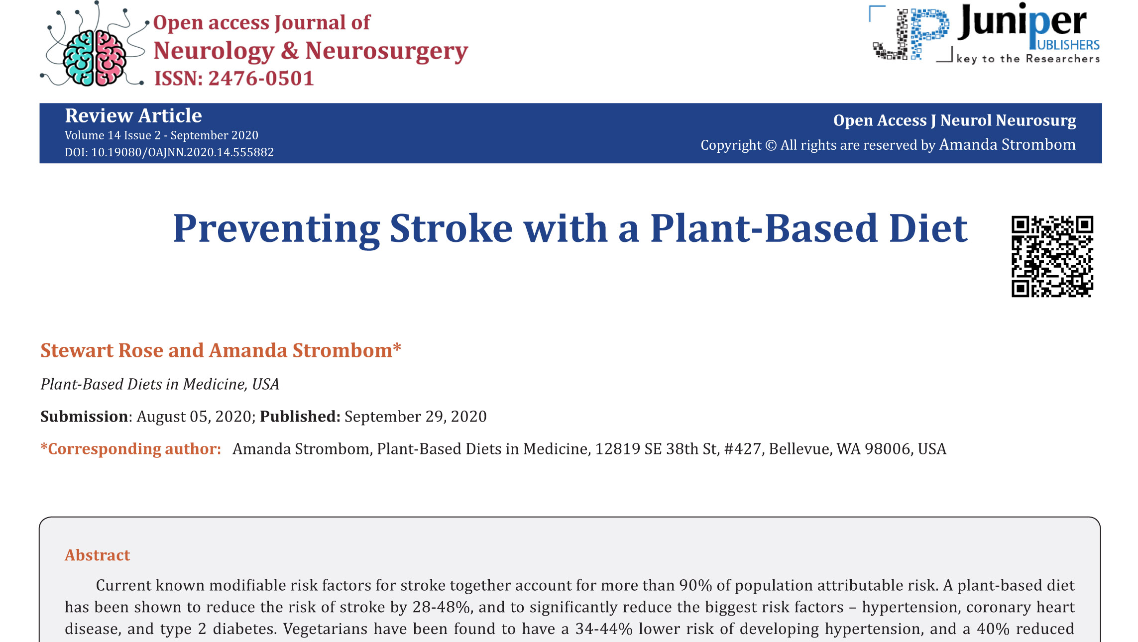 Top portion of published article on preventing stroke with a plant-based diet